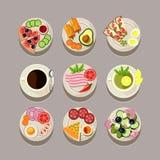 Ontbijtconcept met Vers Voedsel Royalty-vrije Stock Foto