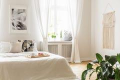 Ontbijtdienblad met binnen gebakjes en koffie op een comfortabel, wit bed royalty-vrije stock foto's