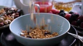 Ontbijtgraangewassen die op een kom met bessen en droge vruchten vallen Langzame Motie stock footage