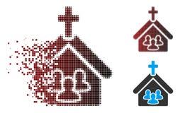 Ontbonden de Mensenpictogram van de Pixel Halftone Kerk vector illustratie