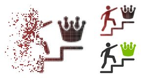 Ontbonden Pixel Halftone Person Steps To Crown Icon royalty-vrije illustratie