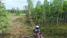 ontbossing De hydraulische ladervorkheftruck laadt logboeken op aanhangwagen Ladingshout in een vrachtwagen in boshoutbewerking