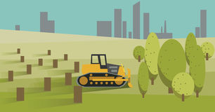 Ontbossing met Gele Bulldozer Vector illustratie vector illustratie