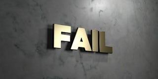 Ontbreek - Gouden teken opgezet op glanzende marmeren muur - 3D teruggegeven royalty vrije voorraadillustratie Stock Fotografie