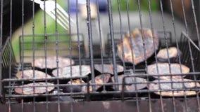 Ontbreek het roosteren van courgettes op lucht stock video
