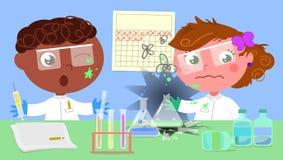 Ontbroken gevaarlijk experiment in laboratorium stock illustratie