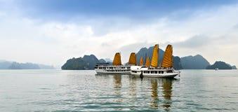 Ontdek van het schiphalong van voeringszeilen de Baai Hoogste Bestemmingen Vietnam stock foto's