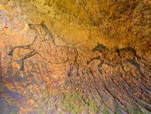 Ontdekking van voorhistorische verf van paard in zandsteenhol De schijnwerper glanst bij het historische menselijke schilderen Royalty-vrije Stock Afbeeldingen