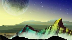 Ontdekkingsreizigerastronaut in landschap sc.i-FI met planeet, bergen vector illustratie