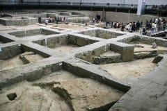 Ontgraven overblijfselen bij de show in het museum, chengdu, China Stock Foto