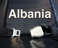 Onthaal aan Albanië! Laat ons de vlieg, reis, reis, reis, reis, royalty-vrije stock fotografie