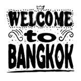 Onthaal aan Bangkok - het Grote hand van letters voorzien vector illustratie