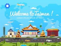 Onthaal aan de affiche van Taiwan met beroemde aantrekkelijkheden vector illustratie