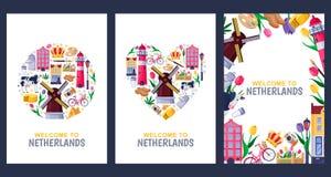 Onthaal aan de groetkaarten van Nederland, druk of het malplaatje van het afficheontwerp Reis naar de vector vlakke illustratie v vector illustratie