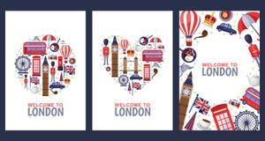 Onthaal aan de kaarten van de de groetherinnering van Londen, druk of het malplaatje van het afficheontwerp Reis naar de vlakke i royalty-vrije illustratie