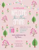Onthaal aan de lente die affichemalplaatje aankondigen stock illustratie
