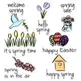 Onthaal aan de lentereeks Eerste bloemen, vogels, het van letters voorzien, Pasen, vogelhuis Stock Afbeelding