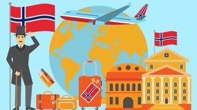 Onthaal aan de prentbriefkaar van Noorwegen Reis en safari het concept de wereld van Europa brengt vectorillustratie met national stock illustratie