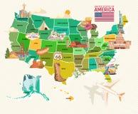 Onthaal aan de V.S. De affiche van de Verenigde Staten van Amerika Vectorillustratie over reis stock illustratie