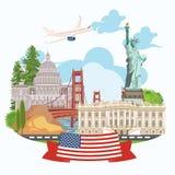 Onthaal aan de V.S. De groetkaart van de Verenigde Staten van Amerika met de vlag van de V.S. Vectorillustratie over reis Stock Afbeelding