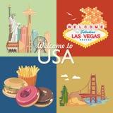 Onthaal aan de V.S. De reeks van de de groetkaart van de Verenigde Staten van Amerika Vectorillustratie over reis stock illustratie