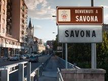 Onthaal aan de verkeersteken van Savona Royalty-vrije Stock Afbeelding