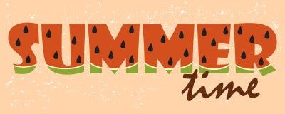 Onthaal aan de zomer De brieven zijn gesneden in een watermeloen grunge V Royalty-vrije Stock Afbeelding
