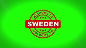 Onthaal aan de Zweden ondertekende het stempelen animatie van de tekst houten zegel royalty-vrije illustratie