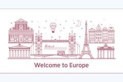 Onthaal aan Europeposter met beroemde aantrekkelijkhedenillustratie Reis op de Vectorillustratie van het wereldconcept Stock Foto