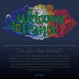 Onthaal aan Frankrijk, reis desing achtergrond, affiche, vectorillustratie Stock Afbeelding