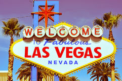 Onthaal aan het Fabelachtige Teken van Las Vegas Stock Afbeeldingen