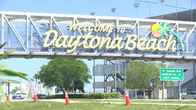 Onthaal aan het teken van Daytona Beach stock videobeelden