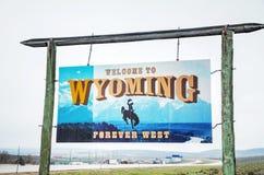 Onthaal aan het teken van Wyoming Stock Fotografie