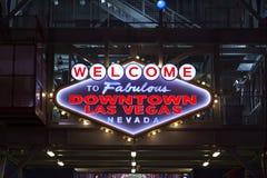 Onthaal aan Las Vegas Van de binnenstad Royalty-vrije Stock Foto's