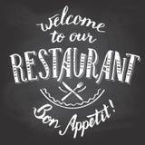 Onthaal aan ons voor het drukken geschikt restaurantbord Stock Foto