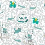 Onthaal aan Tatarstan Tatar Moskee Qol Sharif en trasitional tatar ornament Hand die vectorillustratie trekken kazan vector illustratie
