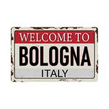 Onthaal aan teken van het de Antiquiteiten het uitstekende roestige metaal van Bologna Itali? op een witte vectorillustratie als  royalty-vrije illustratie