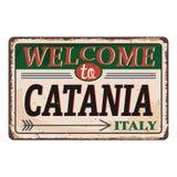 Onthaal aan uitstekend roestig het metaalteken van Catanië Italië op een witte achtergrond, vectorillustratie vector illustratie