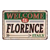 Onthaal aan uitstekend roestig het metaalteken van Florence Italy op een witte achtergrond, vectorillustratie royalty-vrije illustratie