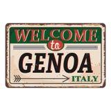 Onthaal aan uitstekend roestig het metaalteken van Genoa Italy op een witte achtergrond, vectorillustratie stock illustratie