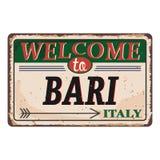 Onthaal aan uitstekend roestig het metaalteken van Italië Bari op een witte achtergrond, vectorillustratie royalty-vrije illustratie
