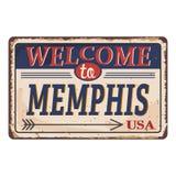 Onthaal aan uitstekend roestig het metaalteken van Memphis op een witte achtergrond, vectorillustratie stock illustratie