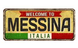 Onthaal aan uitstekend roestig het metaalteken van Messina royalty-vrije illustratie