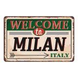 Onthaal aan uitstekend roestig het metaalteken van Milan Italy op een witte achtergrond, vectorillustratie royalty-vrije illustratie