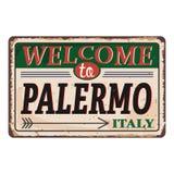 Onthaal aan uitstekend roestig het metaalteken van Palermo Italië op een witte achtergrond, vectorillustratie vector illustratie