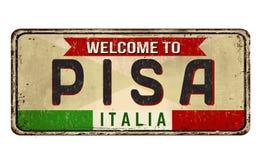 Onthaal aan uitstekend roestig het metaalteken van Pisa royalty-vrije illustratie