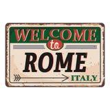 Onthaal aan uitstekend roestig het metaalteken van Rome Italië op een witte achtergrond, vectorillustratie royalty-vrije illustratie