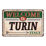Onthaal aan uitstekend roestig het metaalteken van Turijn Italië op een witte achtergrond, vectorillustratie vector illustratie
