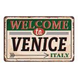 Onthaal aan uitstekend roestig het metaalteken van Venetië Italië op een witte achtergrond, vectorillustratie stock illustratie