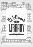 Onthaal aan van de bibliotheekaffiche of kaart concept met overzichtsboeken op de planken Stock Foto